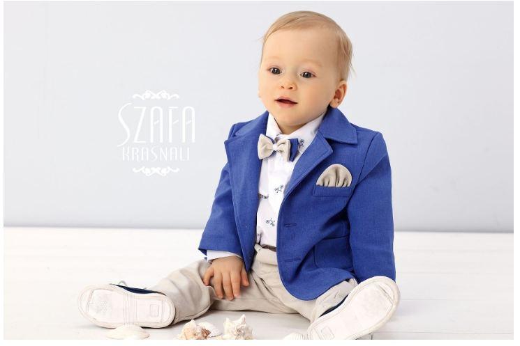 Set Hainute Botez Pentru Baieti Cu Papion Albastru Cu Crem
