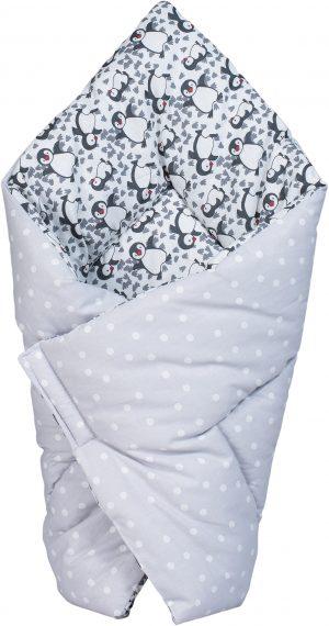 sac de dormit paturica bubaba grey pinguins