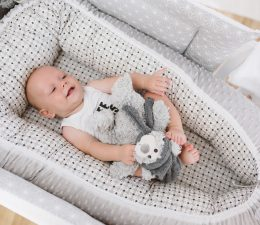 baby nest bubaba grey dots